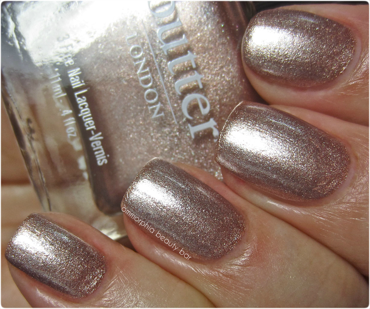 Three metallics from the Butter London Summer 2012 Collection: Champers, Bobby Dazzler, and Marbs
