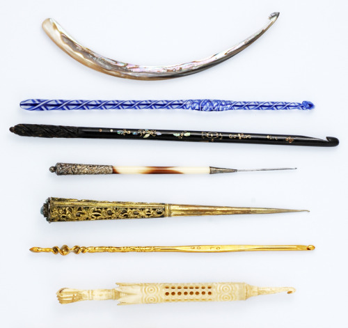 thetypologist:  Typlogy of crochet hooks. Collection of Nancy Nehring.