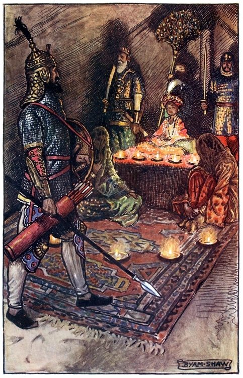 Prince Askurry strode into the tent.  Byam Shaw, from The adventures of Akbar, by Flora Annie Steel, London, 1913.  (Source: archive.org)