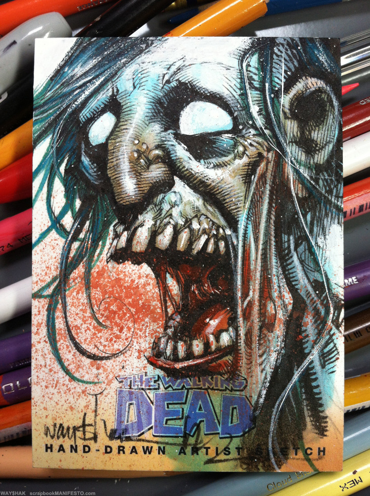 1 of only 15 sketch cards I did for the new @cryptozoic WALKING DEAD trading card set, due out June 5th. My cards are the rarest of this set.