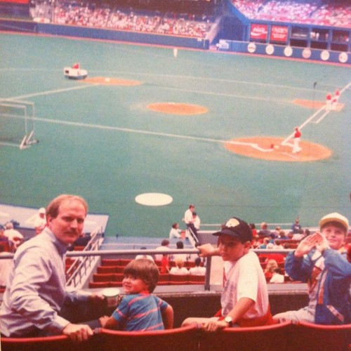 My dad, me, my brothers friend, and my brother at a #Cardinals game. #90s #childhood #baseball #stlouis #spring