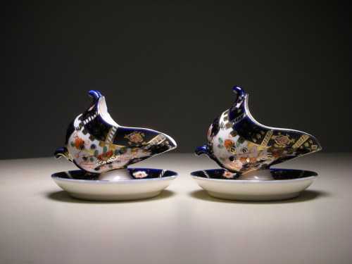 Occupied Japan S.G.K. Miniature Porcelain Salt Cellars, with saucers. Circa: 1940s-1950s, Japan.