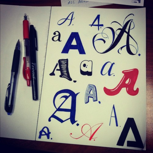 A (2012 I started out with hand lettering different A's) 1. the first letter of the English alphabet 2. the highest mark for school or college work 3. the sixth tone in the scale of C major, or the first in the relative minor scale of A minor.
