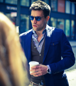 suitsupply:  Chris makes a coffee run in SoHo in our Casablanca jacket.
