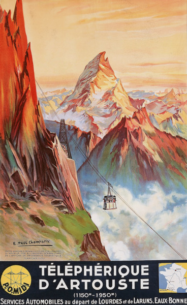 vintageski:  A 1937 poster depicting a summertime view of the Artouste ski area, with the towering Pic du Midi d'Ossau in the background, in the French Pyrenees. Illustration by E. Paul Champseix.