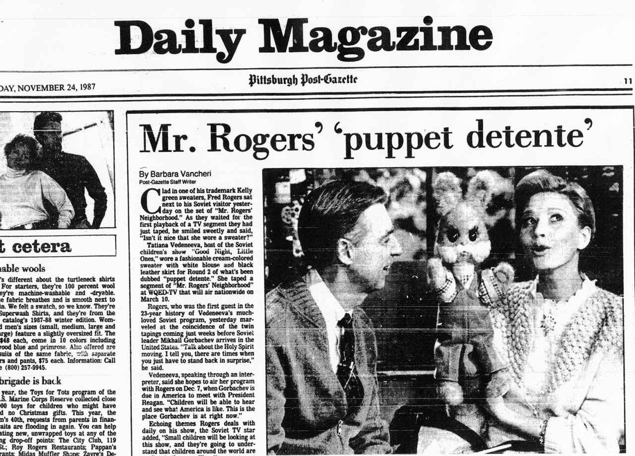 Newspaper clipping: Vedeneeva and Rogers, 1987
