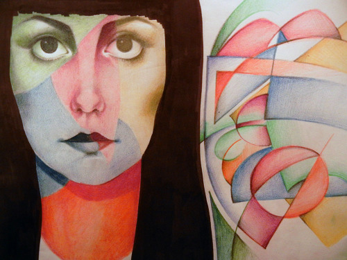 My best friend's face and some abstract. Pencil crayon, ink and graphite.
