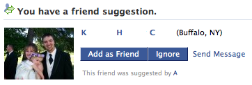 Hmmm. What do you do when someone on Facebook suggests you become friends with an ex-girlfriend from college that: Denied knowing you even existed when she was asked about you by your best friend (himself a stranger to her) a few months after the relationship ended… Hasn't spoken a word to you since the breakup occured (about 8 years ago, including the duration of our senior year of college)… Is now married with a baby…