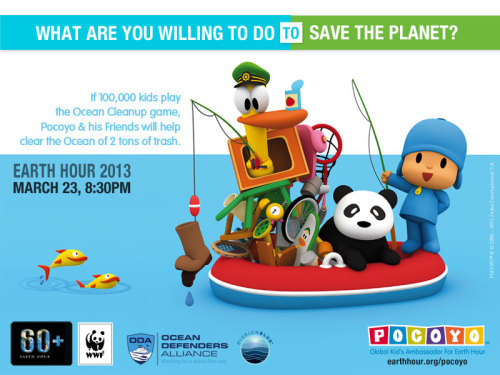 earthhour:  If 100,000 kids play Pocoyo's Ocean Clean Up game, Pocoyo and his friends will help clear the ocean of 2 tons of trash!