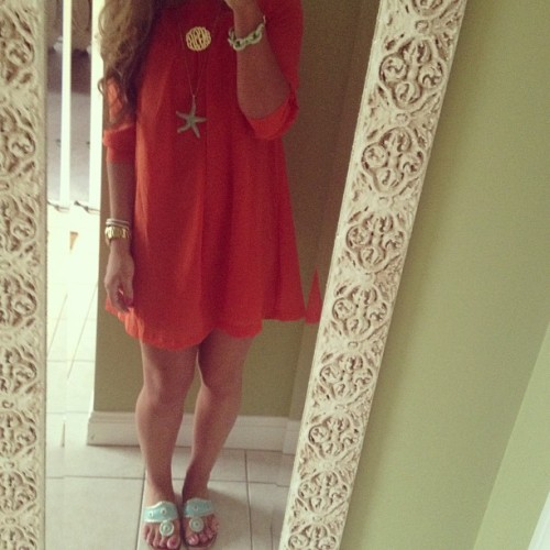 holyprepster:  Orange and turquoise are such a cute couple; Have a lovely Monday, darlings #ootd