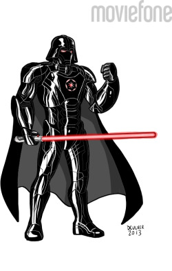 Iron Man Star Wars Armor illustrated by me for Moviefone moviefone:  Darth Stark finds your lack of goatee disturbing… 6 Rejected Armor Designs from 'Iron Man 3'  Disney Princess, Tardis, Juggalo and more!    From Dennis Culver & Moviefone