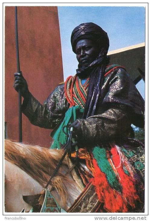 nigerianostalgia:  A mounted Hausa warrior in full ceremonial regalia, Nigeria 1974Vintage Nigeria