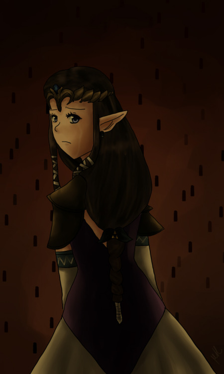 "the twilight princess by me (narutoxhinatafan)So my best friend has been playing twilight princess in my home and I've been inspired to draw something twilight princes related. I named this piece ""the twilight princess"" because Midna in the beginning gives princess zelda that name in a form of mockery. Since princess zelda gave up when zant and ganon declared war on Hyrule. This drawing is meant to depict her downfall. Although throughout the game princess zelda has a calm or a collect form of expression I wanted to draw her in her time of weakness. I can imagine the pain she endured when she gave up. Due to my art style she looks younger or child like :'D I tried drawing her expression in the game and concept art and i failed…   I was listening to the 25th anniversary CD while I drew this. :D"