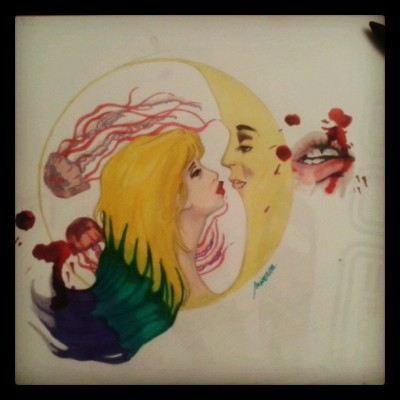 draw by me #minerva #draw #drawing #moon #myself #blood #lips #hurt #tieanddye