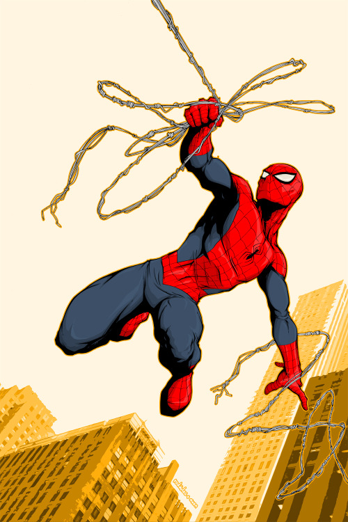 westcoastavengers:  Spider Man by Salvador Velazquéz  I love spiderman. he's in my top 3 favorite superheroes!