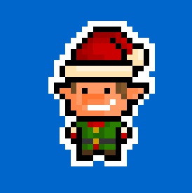 Here's a 17 x 24 pixel Christmas Elf !