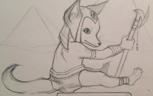 Another doodle for the project, this time it's Anubis.