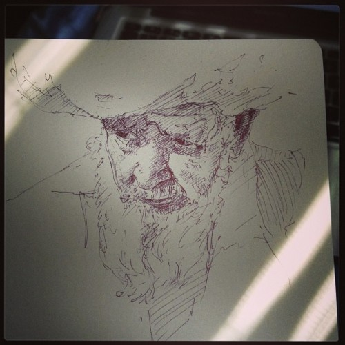 Morning sketch from still of a vice video #drawing #sketch, #man, #old, #beard, vice