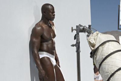 Djimon Hounsou on set for Calvin Klein Underwear, 2007.