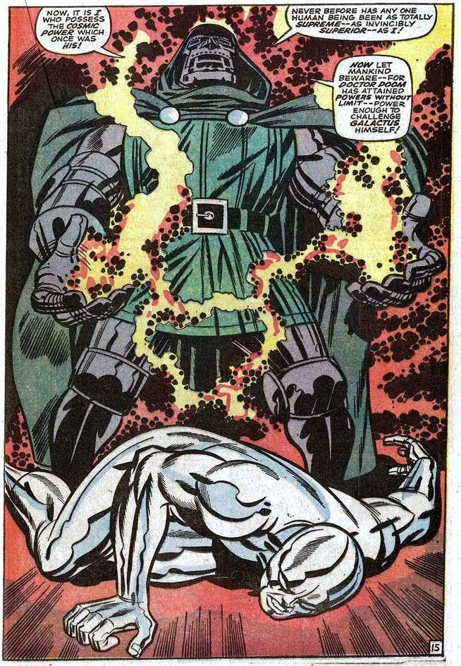 churchcoffee:  Dr. Doom taking the Power Cosmic from the Silver Surfer in Fantastic Four #57 (1966).