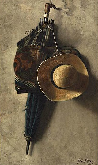 John Frederick Peto Still Life with a Hat, Umbrella and Bag 1905