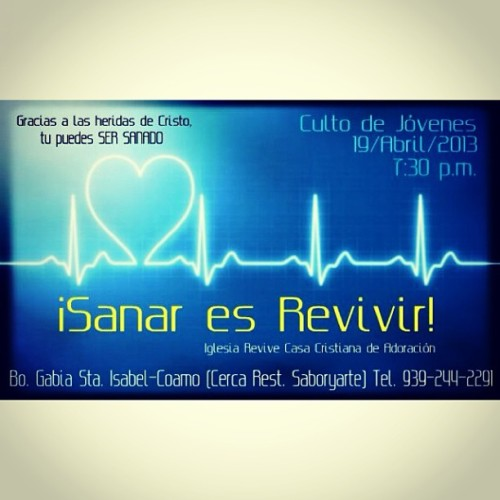 Culto de jovenes…. NO TE LO PIERDAS! Dios tiene cosas grandes para ti el quiere sanar las heridas que el tiempo no ha podido sanar! Te esperamos… Dios te bendiga! Este viernes a las 7:30!! Para mas info. Me avisan! EVERYONEBIS INVITED!! #jesus#best#doctor#he#died#to#heal#you#only#eternal#medicine💊