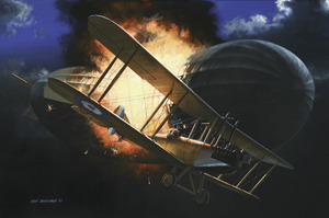 No Quarter: This painting by Ivan Berryman depicts Lt. William Robinson attacking Zeppelin SL-11. It was the first airship brought down over Britain. (Painting by Ivan Berryman, courtesy of Cranston Fine Arts) (HT Airforce Mag)