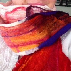 #nuno #felted scarf #silk #merino and lots of #silkhankies