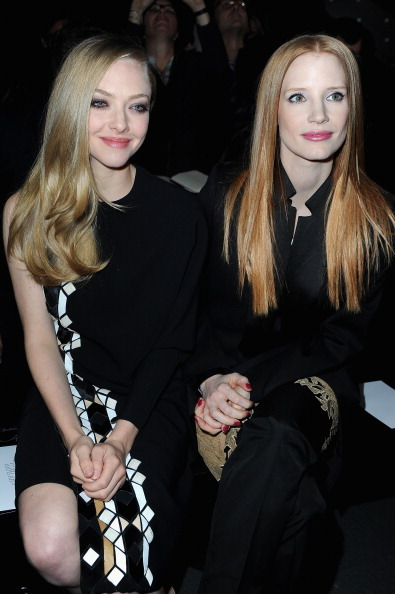 bohemea:  suicideblonde:  Jessica Chastain and Amanda Seyfried at the Givenchy RTW Fall 2013 show during Paris Fashion Week, March 3rd  HAIR PORN! KISS HER!
