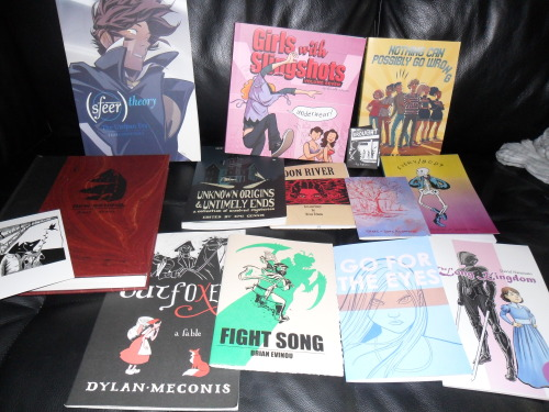 DAY 1 of TCAF 2013 I bought waaay more than I was planning to. I can't budget. BUT there are all really awesome! It was great today, got to hang around, chat with a lot of tables during low times, read during line times and clearly spent a load on comics already.