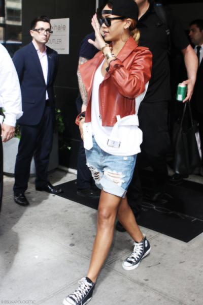 Rihanna leaving her hotel in New York