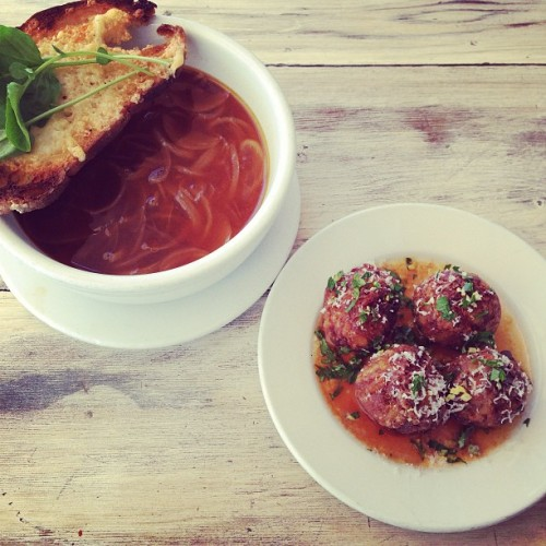 Specials! OssoBuco Arancini with Gremolata + Onion Soup & focaccia crostini!