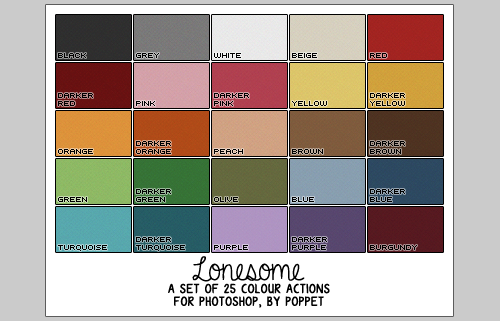 poppet-sims:  I made new colour actions, mainly because I get bored easily and I became tired of the last lot I made. That, and I wanted less colours, because less = more space in the downloads folder, right? Hopefully, anyway. I used them on the last set of walls I made, although I have changed a few of the colours since then (mainly the greens and purples) and added an extra one to the set :)So as these were requested just a moment ago, here they are. They were made using Photoshop CS5, but should work just fine with other versions as well. To use, it's best to start of with a light grey background (close to the one in the background up there ^^) press play on the action, and once it's finished, if there's anything you want to change, just click undo and adjust the layers to your liking. DOWNLOAD