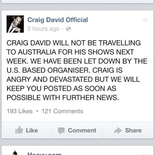@ramekinscafe @i_am_joe OFFICIAL statement from Craig David's facebook account. #fail #craigdavid #tour #urban #music #picoftheday #followme #igdaily #igers #iphonesia #follow
