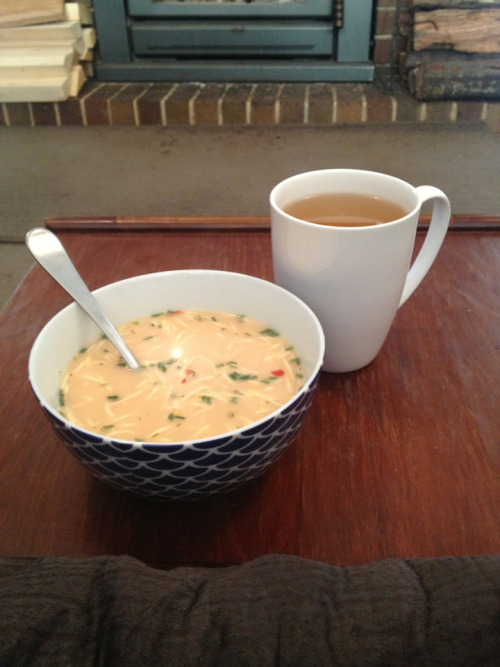 My lunch: -Thai red curry cup-of-soup. 131cal -Mint green tea. 0cal