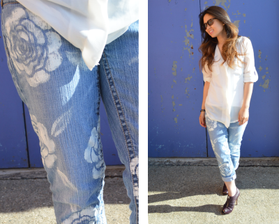 truebluemeandyou:  DIY Easy Stenciled Floral Jeans Tutorial from Studs and Pearls here. This is so easy and you can do it in any color on jeans or shorts.