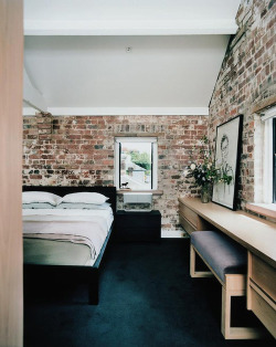 designed-for-life:  Exposed brick bedroom. Exposed brick can be a little rustic for some and for others can provide a warm, earthy and authentic backdrop for both modern and classical interiors.