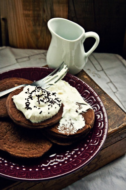 noperfectdayforbananafish:  Chocolate-Buckwheat Pancakes with Cream (by moi_natali)