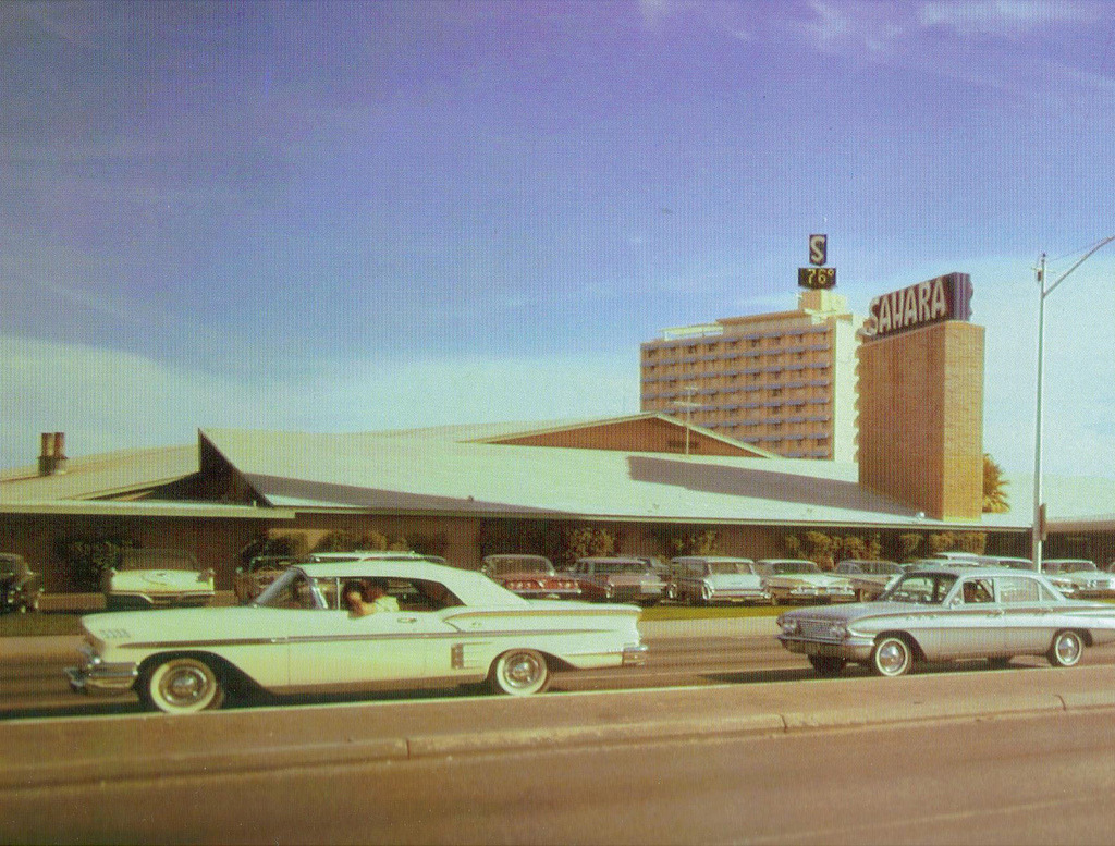 vintagelasvegas:  Cars on the Las Vegas strip in front of the Saraha, 1963. Photo VV