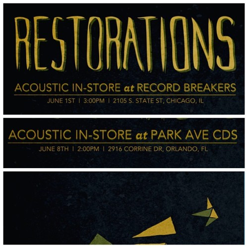 We're doing two in-store acoustic performances on this tour. Chicago at Record Breakers and Orlando at Park Ave. Both are totally free and all ages. Come say hello.