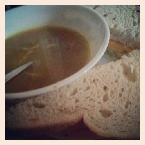 Soup & sandwich for lunch. :-)