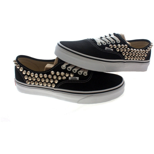 Studded Vans, Silver cone studs with Black vans / One side Studded by CUSTOMDUO on ETSY   ❤ liked on Polyvore (see more black shoes)