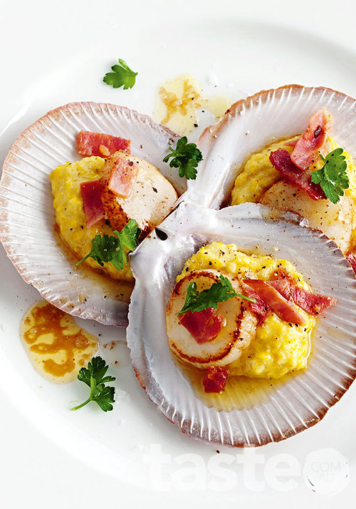 Quickly caramelise scallops in a pan and present them in the shells with smashed corn and shards of prosciutto. (Recipe by Katrina Woodman; Photography by Jeremy Simons)