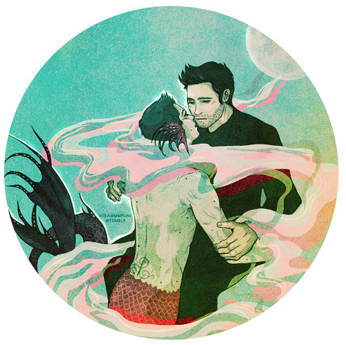 steammmpunk:  I wanted to draw merman!Derek but my hands said merman!Stiles instead and then my hands said NO so this took me forever and idek what's going on anymore but here it is ⊙﹏⊙