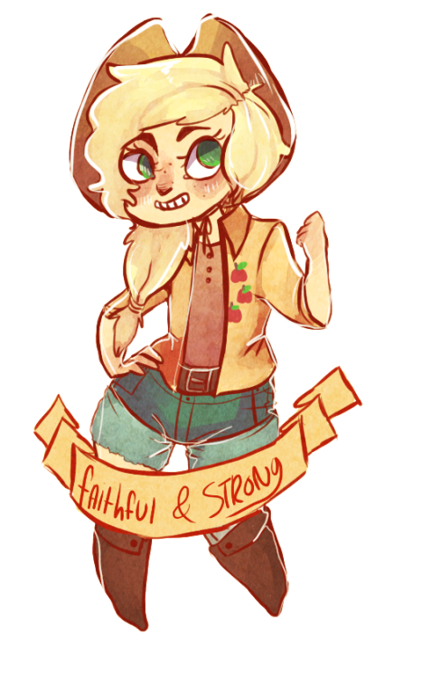 floatingweightlesss:  applejack persona i drew for my little sister (ノ≧∀≦)ノ