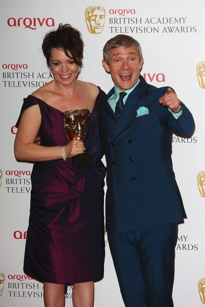 clock-watcher:  Hi-res pic:  Best Supporting Actress winner Olivia Colman & Martin Freeman at the Arqiva British Academy Television Awards 2013 on May 12, 2013 in London.