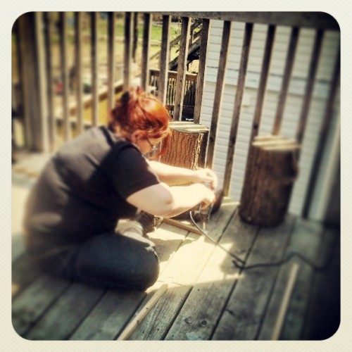 My mom working on another one of her brilliant projects.  #mom #projects #building