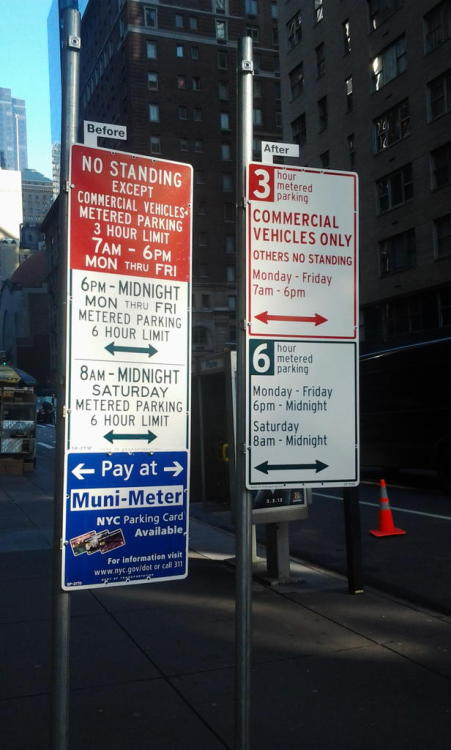 Image of the Day: NYCDOT unveiled it's new, incredibly readable parking signage yesterday, designed by Pentagram's Michael Bierut.