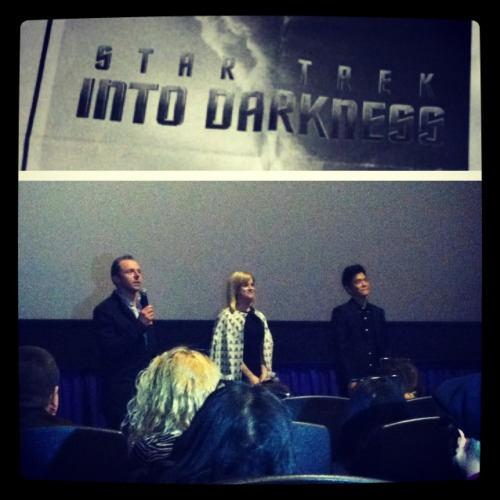 Simon Pegg, Alice Eve & John Cho. Preview Screening of Star Trek: Into Darkness. Holy crap this happened.