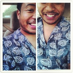 Riding around, leaf shirt. #thrifty #smile #leafshirt #facialhair